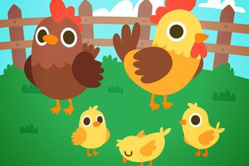 卡通鸡家庭矢量素材