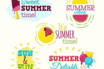 5款彩色夏季元素标签矢量图