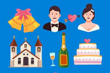 12款创意婚礼元素矢量素材