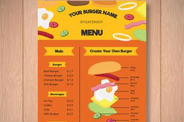 彩色汉堡包单页菜单矢量素材