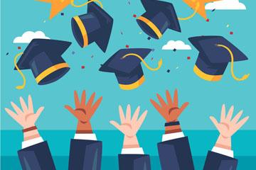卡通毕业欢呼人群手臂和博士帽矢