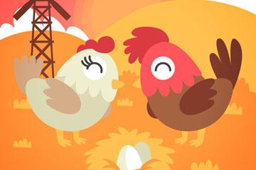 卡通公鸡和母鸡设计矢量素材