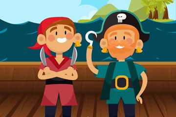 2个卡通海盗设计矢量素材