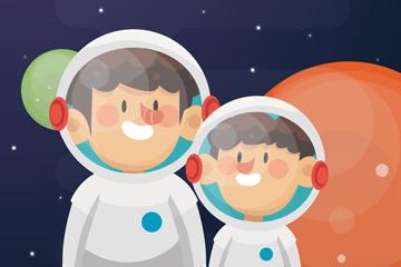 卡通父亲节宇航员父子矢量素材