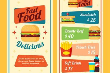 彩色快餐店菜单设计矢量图