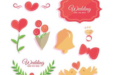 8款可爱婚礼元素设计矢量图