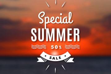 创意夏季海上夕阳促销海报矢量图