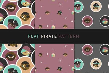3款创意海盗头像无缝背景矢量图