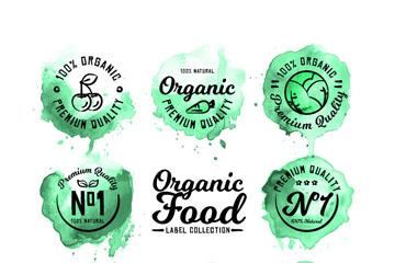 8款绿色水彩绘有机食品标签矢量