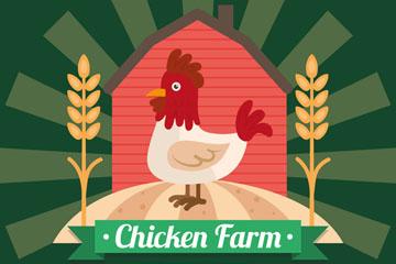 可爱鸡场仓库和公鸡矢量图