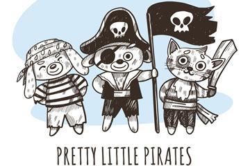 3款彩绘动物海盗设计矢量图