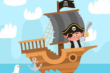 创意站在船头的海盗矢量素材
