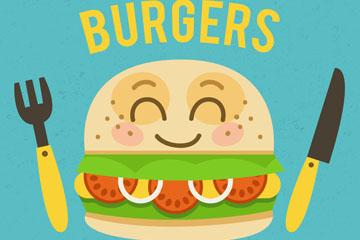 可爱笑脸汉堡包矢量素材