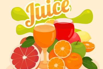 彩色新鲜水果和鲜榨果汁矢量图