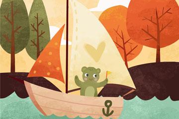 卡通乘帆船的熊矢量素材