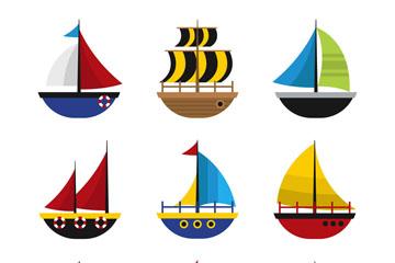 9款彩色帆船�O�矢量素材