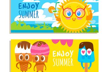 2款可爱夏季元素banner矢量图
