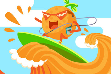创意橙汁上冲浪的橙子矢量图