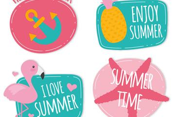 4款可爱夏季元素贴纸矢量图