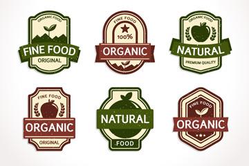 6款复古有机食品标签矢量素材