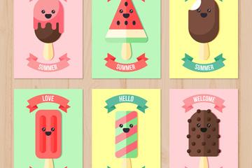 6款可爱夏季笑脸雪糕卡片矢量素