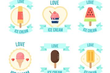 6款彩色夏季雪糕徽章矢量图