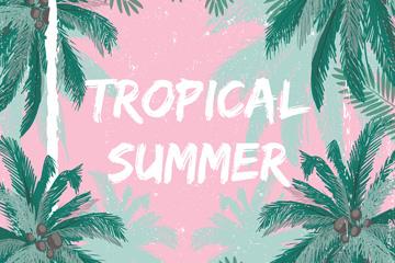 创意夏季热带棕榈树框架矢量图