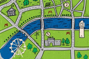 彩绘绿色城市街道地图矢量图