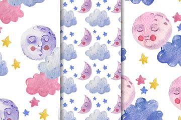 3款水彩绘闭眼睛的月亮无缝背景矢量图