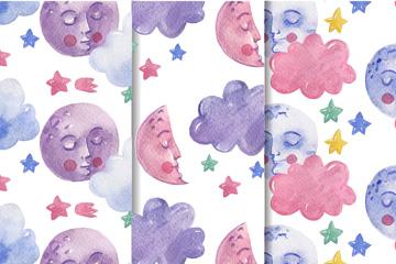 3款水彩绘睡眠月球无缝背景矢量图