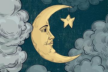 彩绘表情月亮和星星矢量图