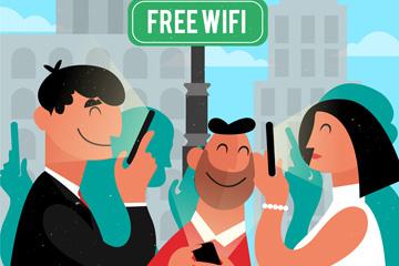 创意免费网络冲浪的3个人物矢量图