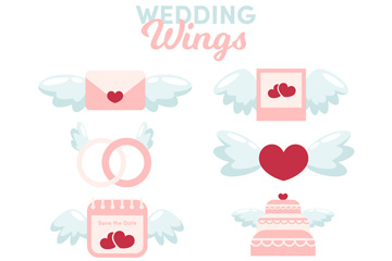 8款可爱婚礼元素翅膀矢量图