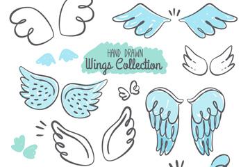 10款手绘翅膀设计矢量素材