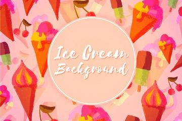 水彩绘冰淇淋和雪糕无缝背景矢量图