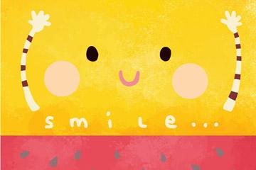可爱彩绘摆手笑脸矢量素材