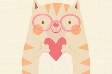 卡通怀抱爱心的笑脸猫咪矢量图