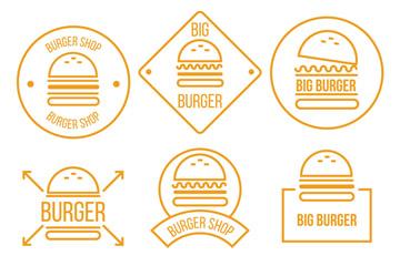 6款橙色汉堡包标志矢量素材