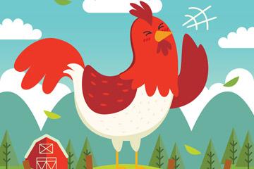 卡通打鸣的公鸡设计矢量素材