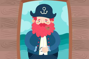 卡通海盗船船长设计矢量素材