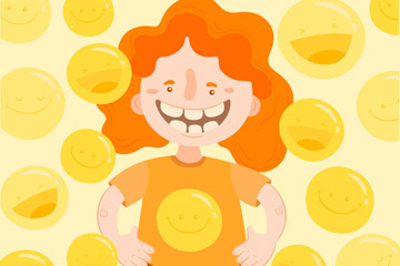 创意橙发笑脸女孩矢量素材
