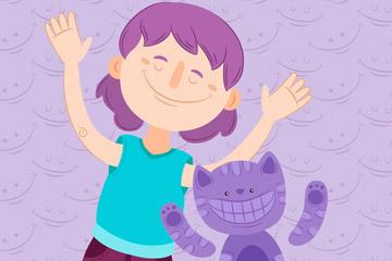 紫色笑脸猫咪和女孩矢量素材