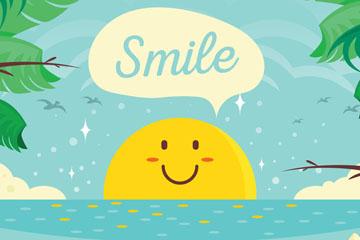 卡通大海中的笑脸太阳矢量素材