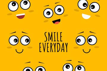 6款创意笑脸表情矢量素材