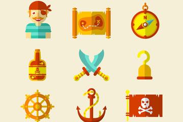 9款扁平化海盗元素图标矢量图