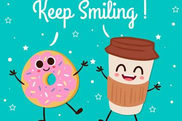 可爱笑脸咖啡和甜甜圈矢量图