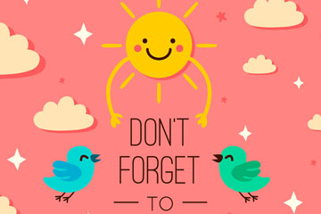 创意不要忘记微笑隽语插画矢量图