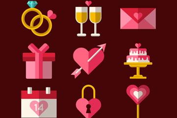 9款扁平化婚礼物品矢量素材