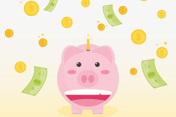 可爱笑脸猪存钱罐和钱币雨矢量图