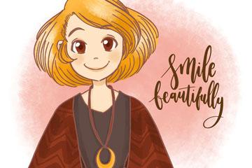 彩绘笑脸短发女孩矢量素材